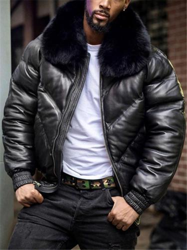 Mens Winter Luxury Fur Collar Casual Loose Coat