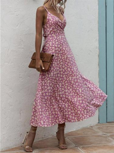 Sexy Backless Daisy-Print Dress