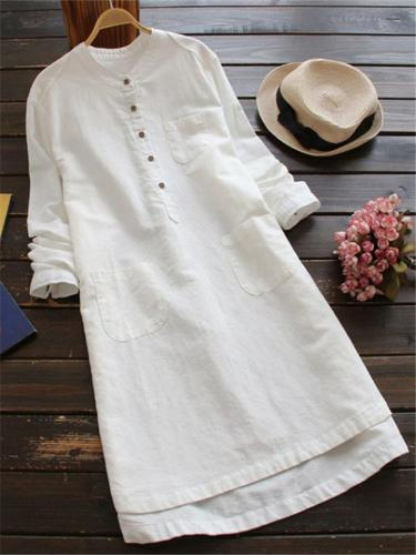 Retro Style Round Neck Solid Color Cotton Linen Button Midi Blouse