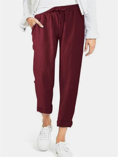 Casual Fit Drawstring Solid Color Pocket Straight-Leg Cotton Pants