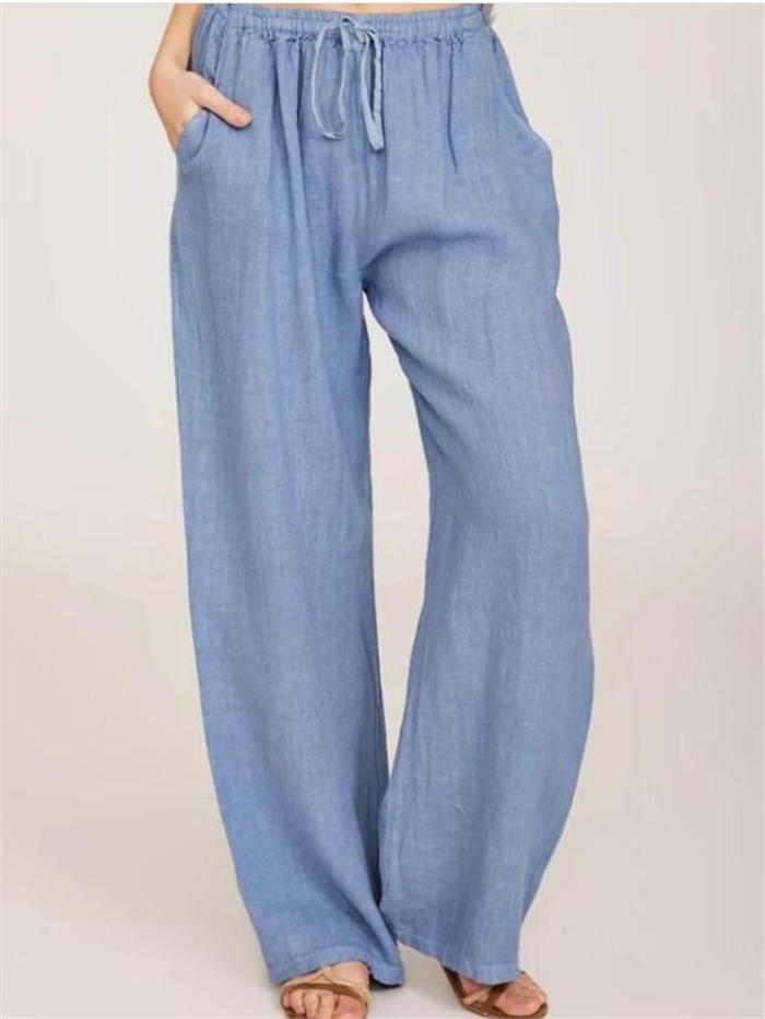 Loose Fit Pocket Cotton Blend Drawstring Trousers