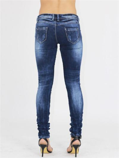 Stylish Low-Rise Pocket Washed Effect Stretchy Skinny Jeans