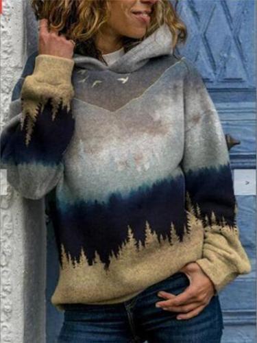 Casual Fit Gradient Long Sleeve Hooded Sweatshirt