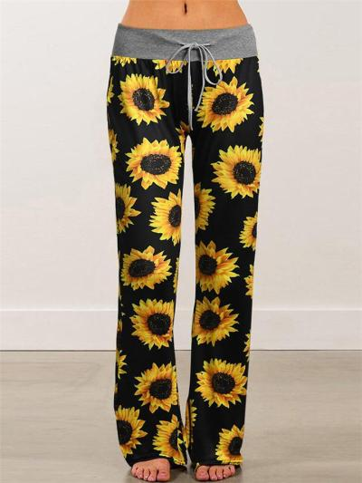 Casual Style Low-Rise Sunflower Pattern Drawstring Bootcut Pants
