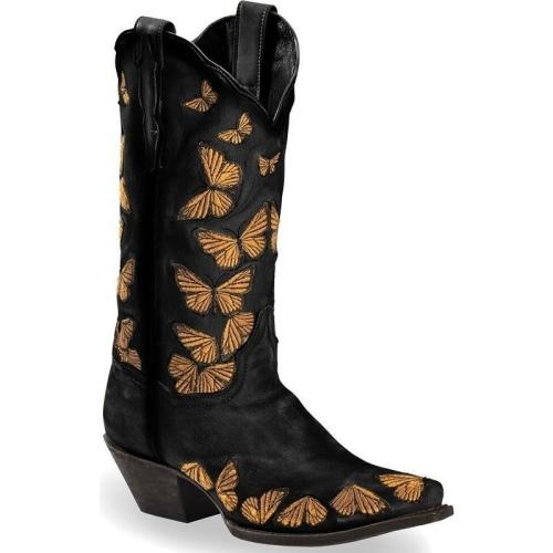 Retro Style Chunky Mid Heel Butterfly Pattern Pointed Toe Boots