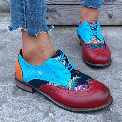 Retro Style Soft Footbed Low-Cut Cutout Lace Up Chunky Heel Shoes