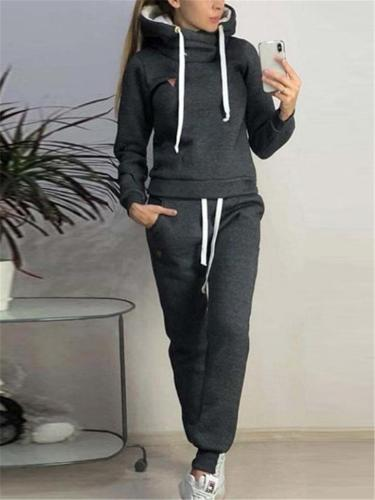 Ultra Comfortable Tracksuit Sets Hooded Sweatshirt + Drawstring Trousers