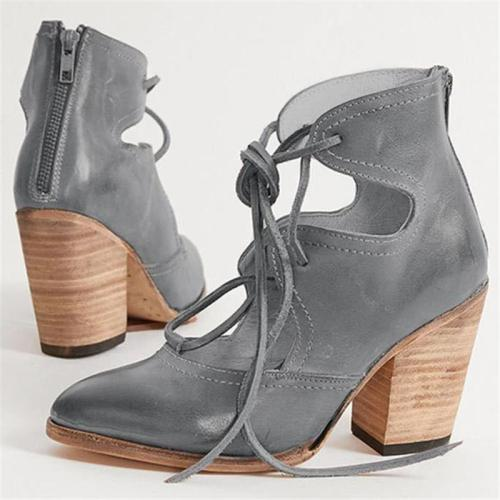 Stylish Cutout Design Pointed Toe Lace Up Back Zipper Chunky High Heel Shoes