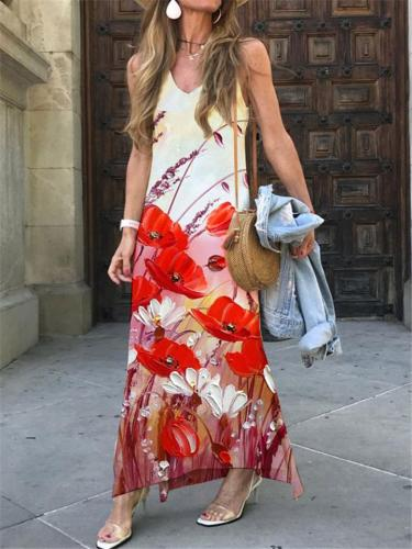 Stylish V Neck Floral Printed Sleeveless Maxi Dress