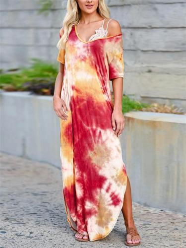 Loose Fit V Neck Short Sleeve Side Slit Tie-Dye Maxi Dress