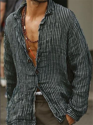 Stylish Front Button Up Striped Collar Cotton Linen Shirt