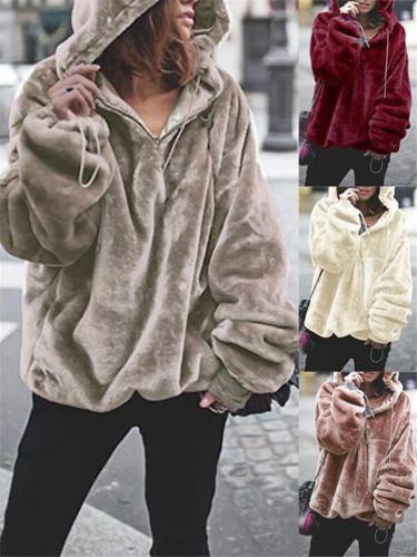 Ultra Warm Zip Up Solid Color Hooded Fur Coat