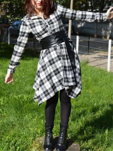 Lapel Collar Waist Tie Asymmetric Hem Rolling Up Long Sleeve Plaid Dress