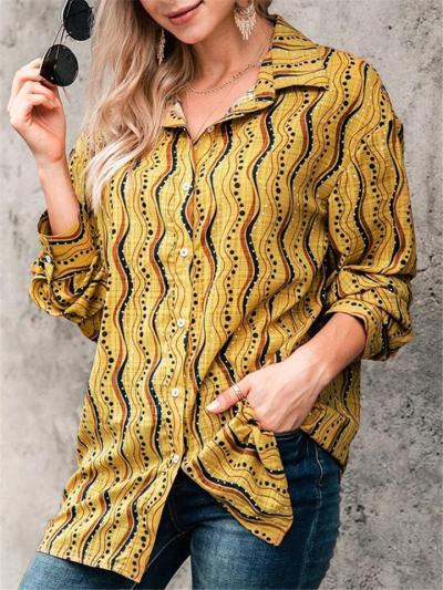 Stylish Lapel Collar Striped Button Up Long Sleeve Blouse