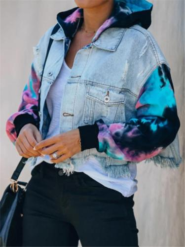 Stylish Tie-Dye Ripped Hem Denim Jacket with Hood