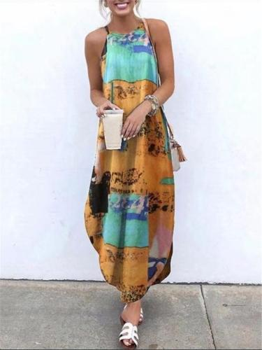 Trendy Halter Neck Multicolor Printed Sleeveless Maxi Dress