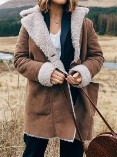 Vintage Style Fur Interior Notched Lapel Collar Pocket Coat