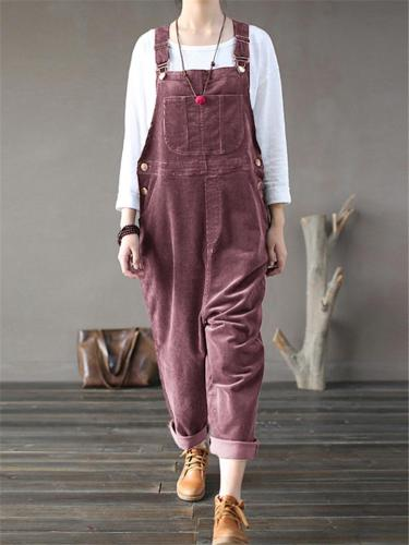 Women's Multi-Pocket Corduroy Overalls
