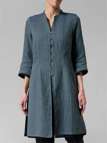 Comfy Front Button Up Midi Length Cotton Linen Shirts