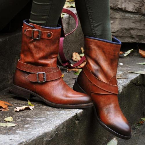 Stylish Buckle Up Non-Slip Faux Leather Low Heel Boots