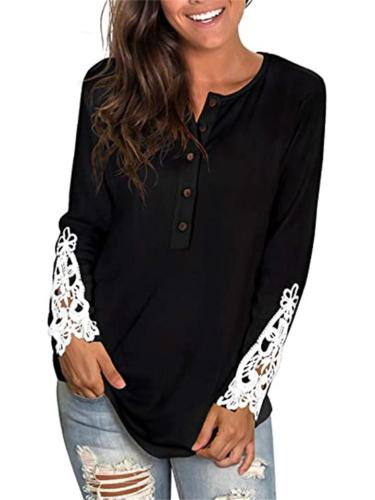Casual Style Round Neck Button Up Floral Cutout Sleeve Cuff Pullover Tops