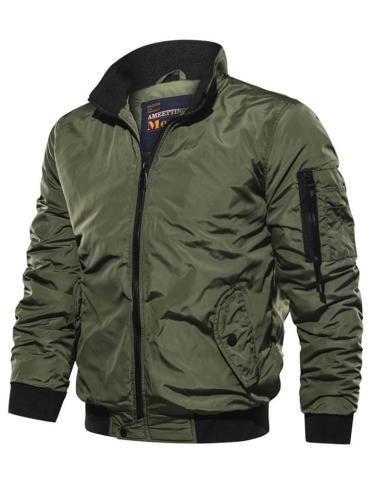 Men's Relaxed Fit Stand Collar Full Zipper Pocket Jacket Coat