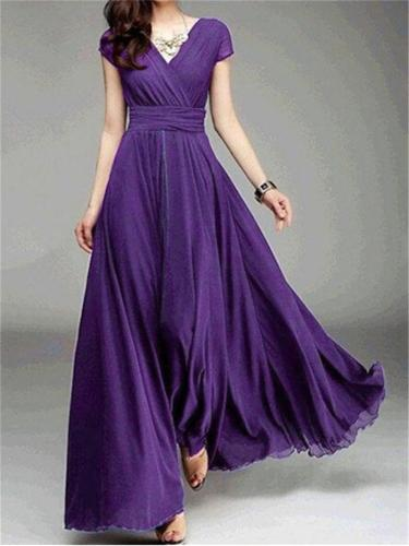 Flowing Wrap Neck Fitted Waist Cap Sleeve Chiffon Dress