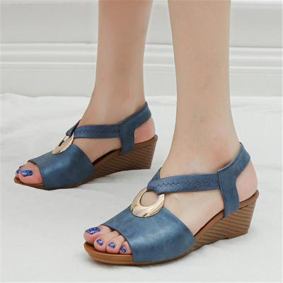 Casual Open-Toe Back Strap Wedge Mid Heel Soft Footbed Sandals