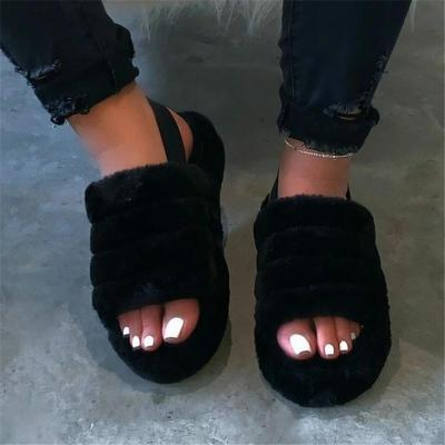 Soft Touch Back Strap Thick-Sole Platform Non-Slip  Fur Slippers