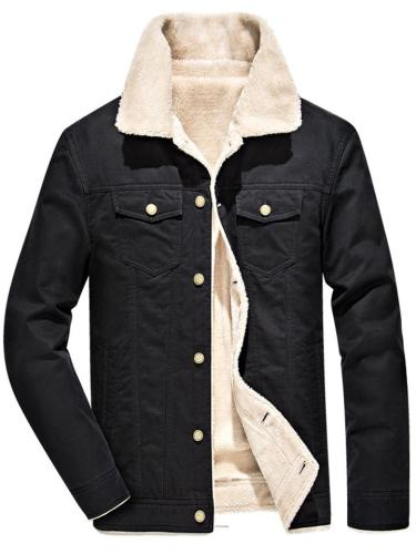 Men's Extra Warm Button Up Flap Pocket Thicken Padded Coat