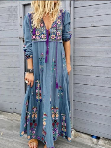 Blue Casual Patchwork Cotton-Blend V Neck Dresses