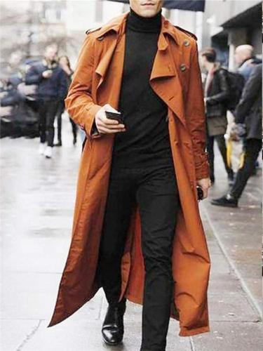 Lapel Collar Double Breasted Solid Color Long Trench Coat