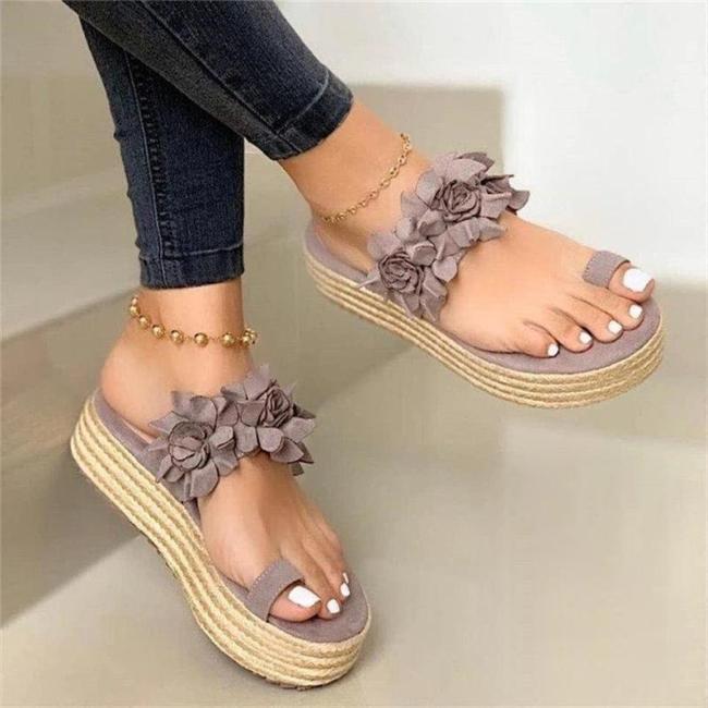 Stylish Floral Toe-Ring High Platform Non-Slip Beach Slippers