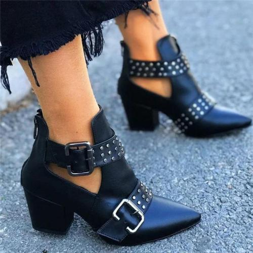 Women's Fashion Buckle Pointed Toe Boots