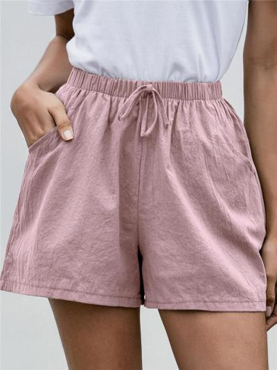 Casual Style Elastic Waist Drawstring Wide Leg Pocket Cotton Shorts