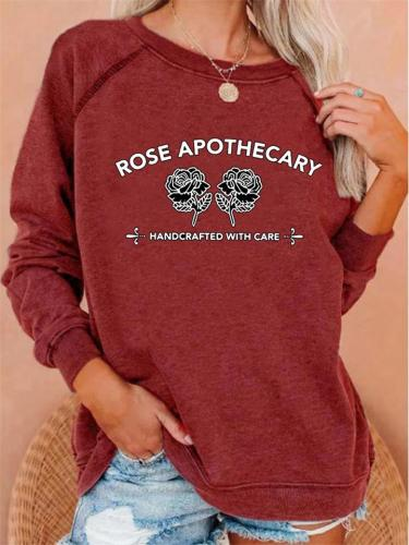 Relaxed Fit Round Neck Floral Letter Printed Long Sleeve Pullover Tops