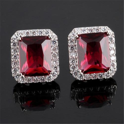 Glamorous Zircon Plated Square Shaped Stud Earrings