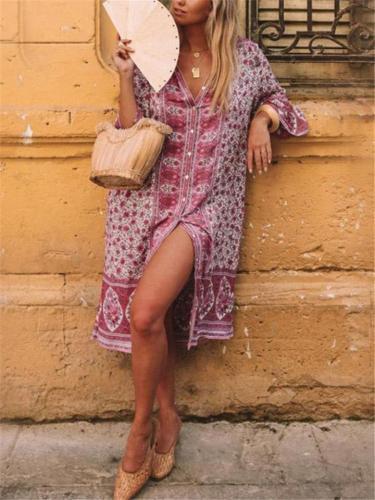 Bohemian Style Lapel Collar Button Up Floral Midi Length Shirt Dress
