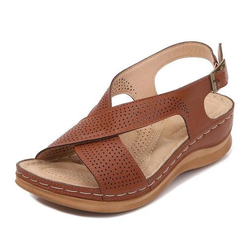Bohemian Soft Footbed Open-Toe Wedge Heel Buckle Sandals