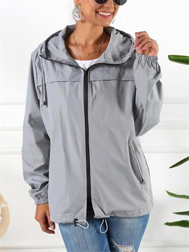 Waterproof Full Zipper Pocket Drawstring Hooded Jacket Coat