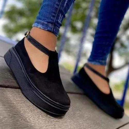 Casual Comfortable Round Toe Buckle Up Cutout Non-Slip Loafers