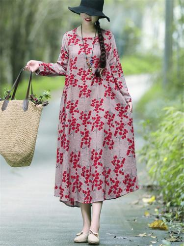 Oversized Ethnic Style Floral Print Long Dress