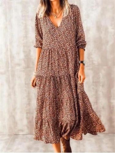 Bohemian Style V Neck Long Sleeve Elastic Cuff Pleated Ruffled Hem Long Dress