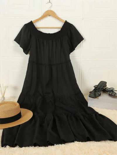 Loose Fit Off Shoulder Short Sleeve Pleated Pocket Black Dress