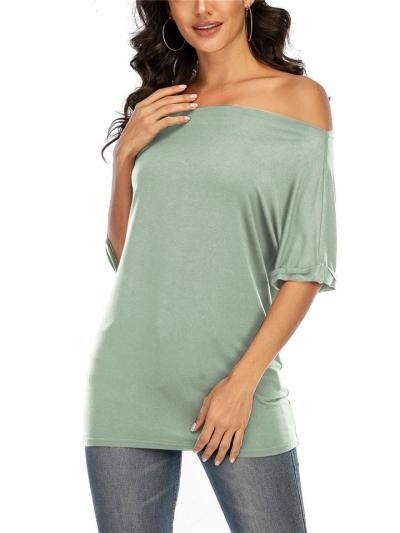 Casual Style Off Shoulder Half Sleeve Solid Color Pullover Tops