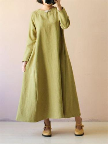 Loose Fit Stand Collar Long Sleeve Solid Color Flare Maxi Dress
