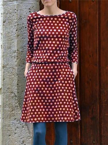 Trendy Round Neck Long Sleeve Polka Dot Pocket Midi Dress