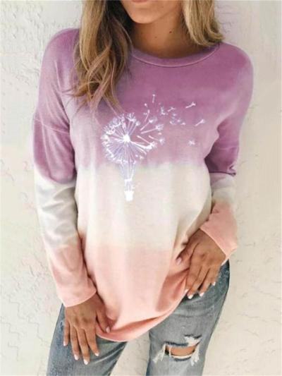 Casual Fit Round Neck Tie-Dye Long Sleeve Pullover Tops