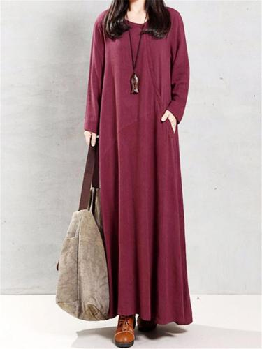 Loose Fit Round Neck Short Long Sleeve Pocket Cotton Maxi Dress