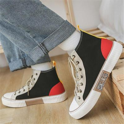 Womens Fashion Canvas Patchwork High-Top Casual Shoes